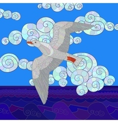 Flying seagull with high details vector