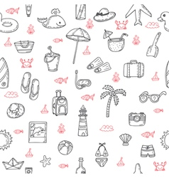 Cute hand drawn summer theme seamless pattern vector
