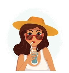 Summer girl drinking a cocktail Cartoon vector image