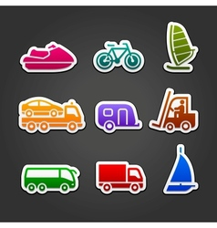 Set simple stickers color transport vector image