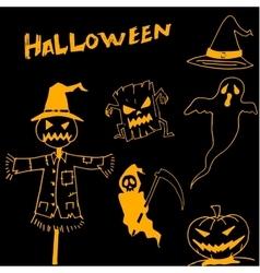 Character halloween scarecrow pumpkins warlock in vector