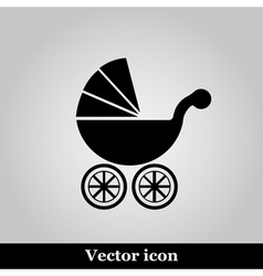 Isolated black baby carriage silhouette vector