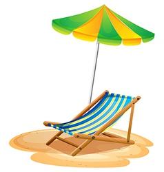 A bench with a summer umbrella vector image vector image