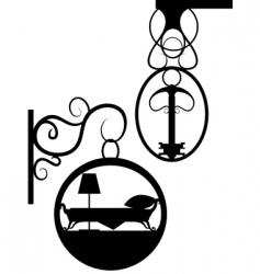 ancient street signboard vector image vector image