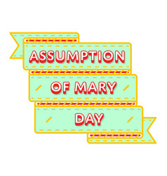 Assumption of mary day greeting emblem vector