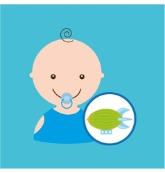 Cartoon toy airship baby icon vector