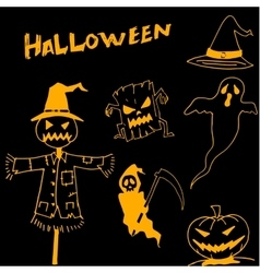 Character Halloween scarecrow pumpkins warlock in vector image
