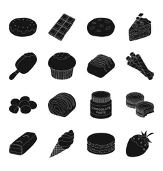 Chocolate desserts set icons in black style big vector