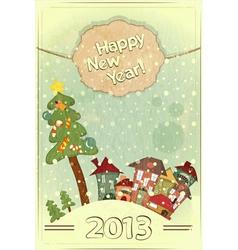 Christmas tree and small houses vector image vector image