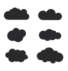 Cloud icons set black outline isolated vector