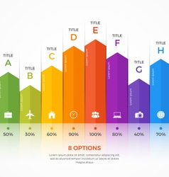 Column chart infographic template 8 options vector