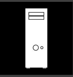 Computer case or system unit white color icon vector