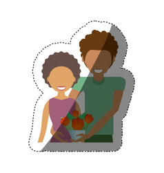Couple smiling with bouquet shadow vector