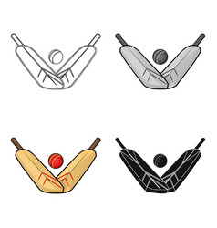 crossed cricket bats with ball icon in cartoon vector image