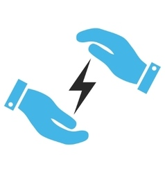 Electricity supply care hands eps icon vector