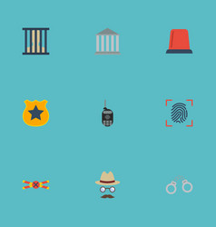 Flat icons thumbprint inspector building and vector