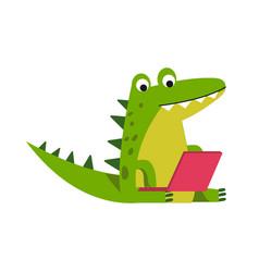 Funny cartoon crocodile character sitting using vector