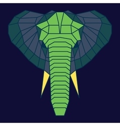 Green and blue low poly elephant vector image vector image