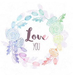 hand drawn floral wreath in hologram style and vector image
