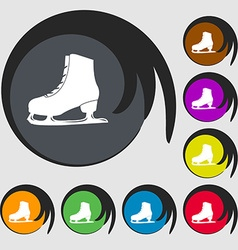 Ice skate icon symbols on eight colored buttons vector