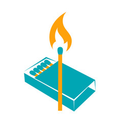 icon lighted match vector image