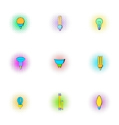 Lamp icons set pop-art style vector