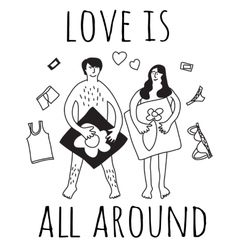 Love couple relations sign black and white vector image vector image