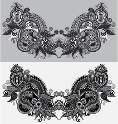 Neckline grey embroidery fashion black and white vector image vector image
