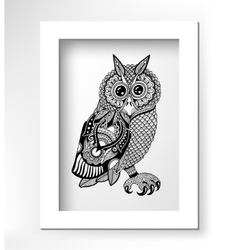 original artwork of owl ink hand drawing in vector image vector image