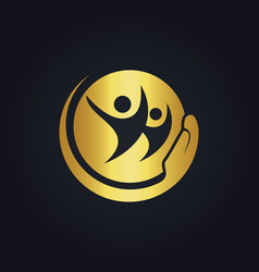 people care happy gold logo vector image vector image