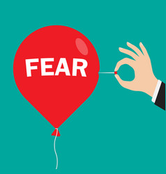 red balloon with an inscription fear vector image vector image
