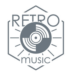 Retro music logo simple style vector