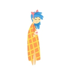 Sad girl with blue hair wrapped in blanket with vector