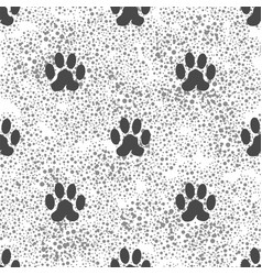 Seamless cat animal paw pattern print of paw vector