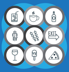 Set of 9 eating icons includes lemon juice hooch vector