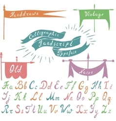 Set of calligraphic handdrawn font and banners vector