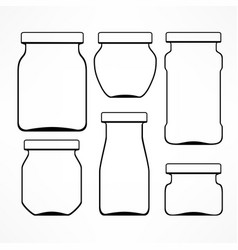 set of glass jars vector image