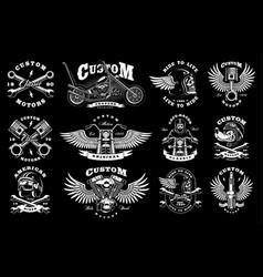 set with 12 vintage biker on dark background vector image vector image