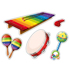 Sticker set of musical instrument vector