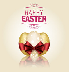 Three golden easter eggs with ribbons vector