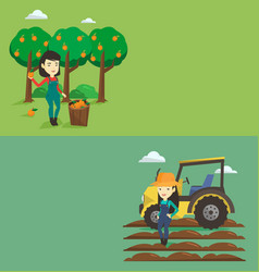 Two agricultural banners with space for text vector