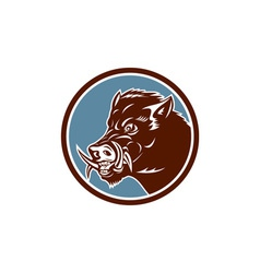 Wild boar razorback head side circle retro vector