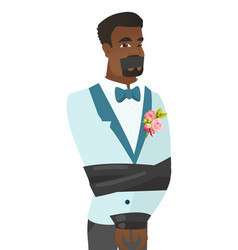 Young african-american groom tied up with rope vector