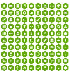 100 food shopping icons hexagon green vector