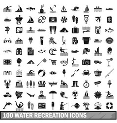 100 water recreation icons set simple style vector