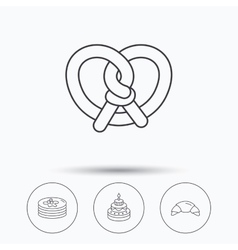 Croissant pretzel and pancakes icons vector