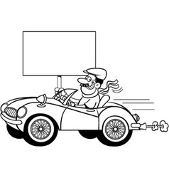 Cartoon man in a sports car holding a sign vector image