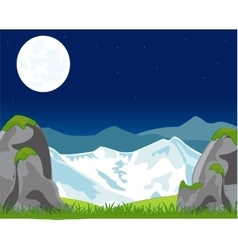Landscape with mountain in the night vector image