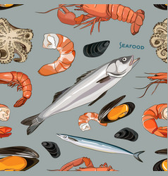 Seafood set pattern vector