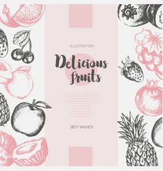 Two side fruit frame - hand drawn design vector